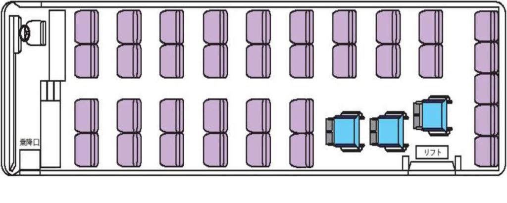 座席俯瞰図 車イス3台固定