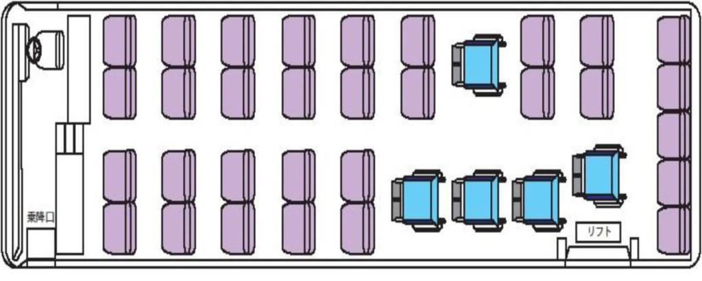 座席俯瞰図 車イス5台固定