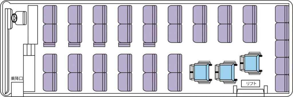 C定員43名 車イス3台固定(正座席35+補助席5+車イス3)